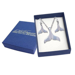 Sterling Silver Whale Tail Pendant and Earrings Gift Box SET038
