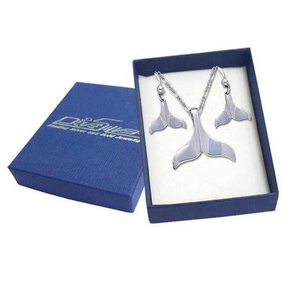 Sterling Silver Whale Tail Pendant and Earrings Gift Box SET038 - Box Sets