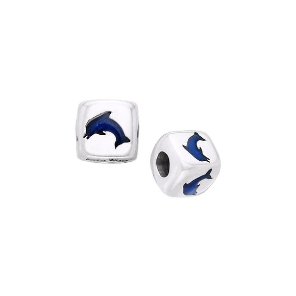 Dolphin Sterling Silver with Enamel Bead TBD033 - Beads