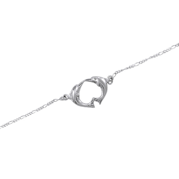 Double Dolphin Sterling Silver Anklet TBG382 - Bracelets,