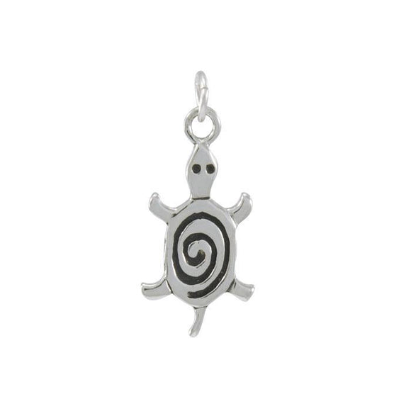 Turtle with Spiral Sterling Silver Charm TC359