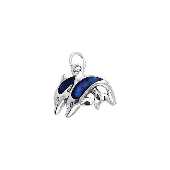 Mother & Baby Dolphins Sterling Silver Charm TCM069