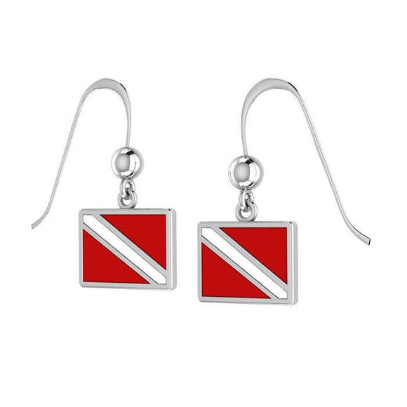Divers Down Flag Sterling Silver Hook Earring TE2028