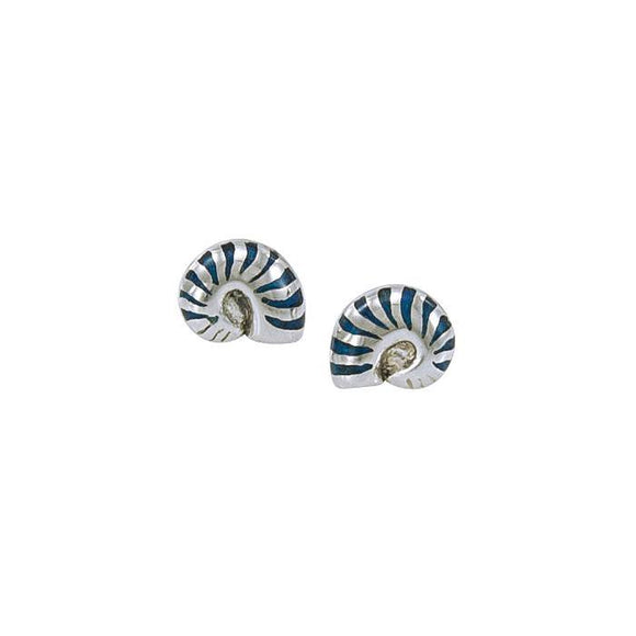 Nautilus Shell Sterling Silver Post Earring TE2792