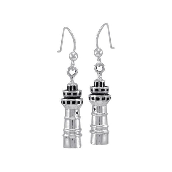 Three Tiered Lighthouse T Sterling Silver Hook Earring TE2823