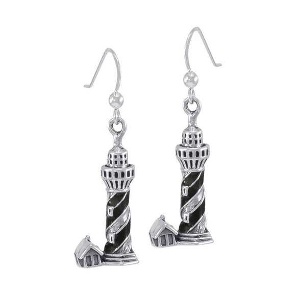 Nordic Sea Lighthouse T Sterling Silver Hook Earring TE2824