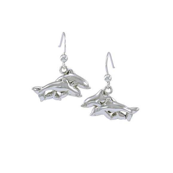Mother & Baby Dolphins Sterling Silver Hook Earring TE952
