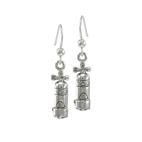 Large Dive Tank Sterling Silver Hook Earring TE966