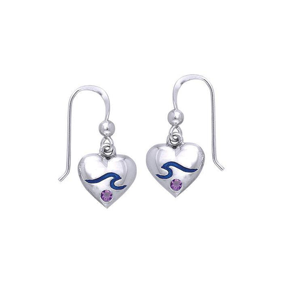 Wave On Heart Hook Earrings TER021