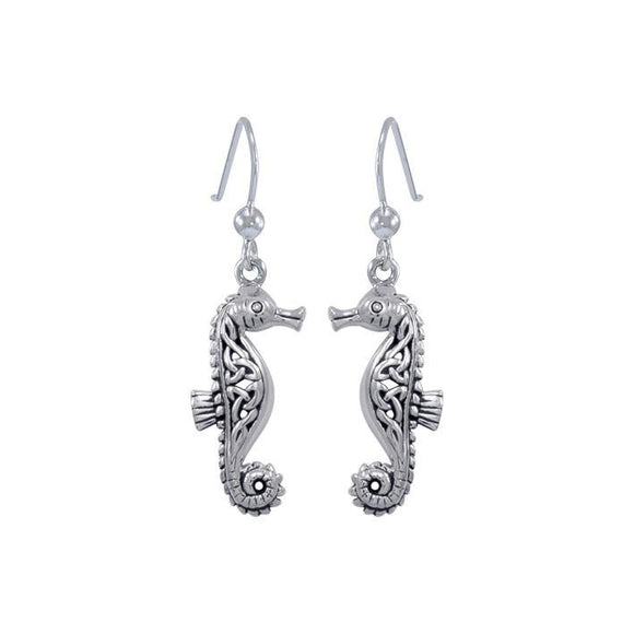 Celtic Seahorse Sterling Silver Hook Earring TER033