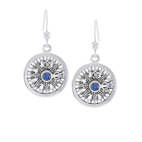 Compass Rose with Gemstone Sterling Silver Hook Earring TER035