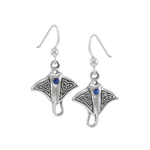Celtic Manta Ray Sterling Silver Hook Earring TER037