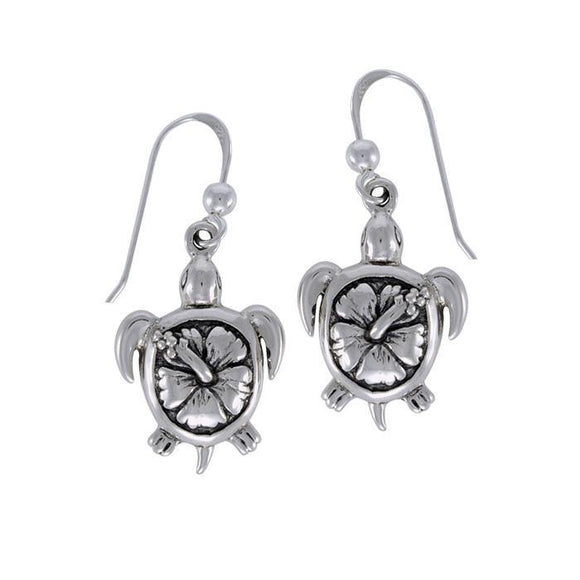 Hibiscus on Sea Turtle's Carapace Sterling Silver Hook Earring TER1325