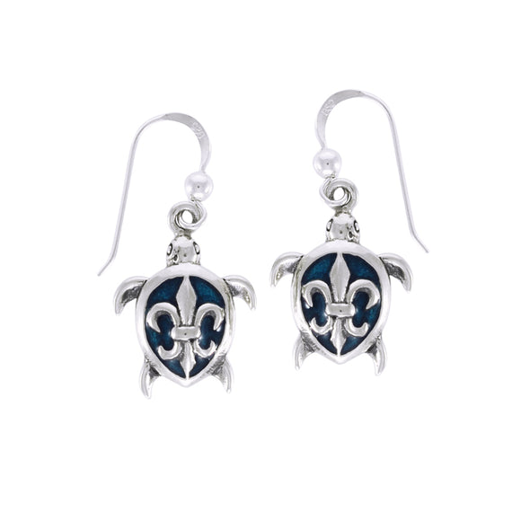 Fleur De lis on Sea Turtle's Carapace Sterling Silver Hook Earring TER1335 - Earrings