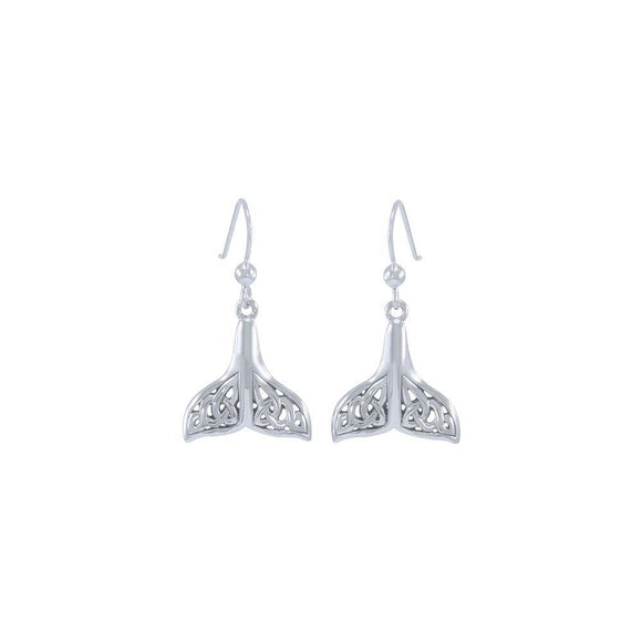 Celtic Whale Tail Sterling Silver Earrings TER1612 - Earrings