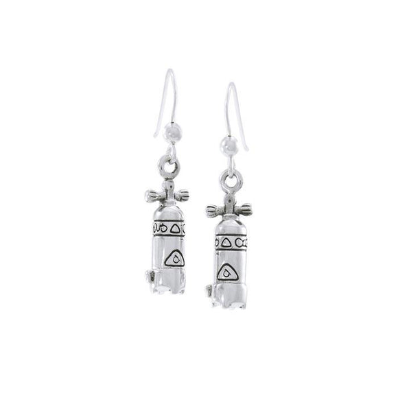 Dive Tank Sterling Silver Hook Earring TER1638 - Earrings