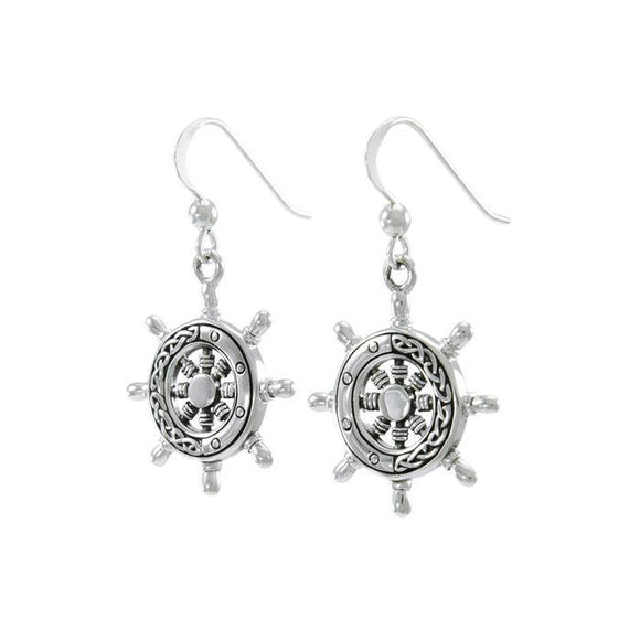 Celtic Ship Wheel Sterling Silver Hook Earring TER1639