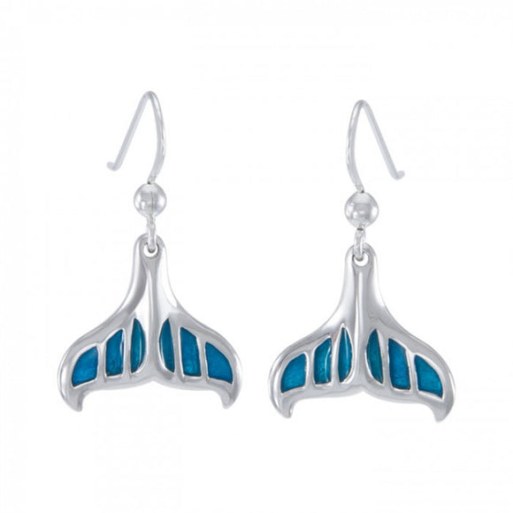 Whale Tail with Enamel Sterling Silver Earring TER1648