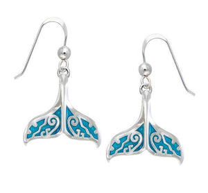 Whale Tail with Enamel Sterling Silver Earring TER1653