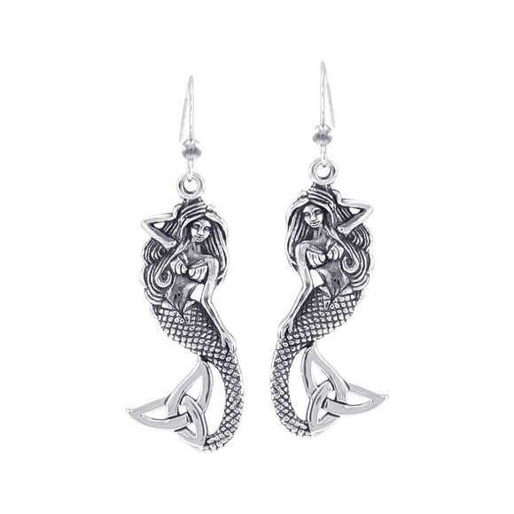 Lovely Mermaid Goddess with Trinity Knot Silver Earrings TER1663