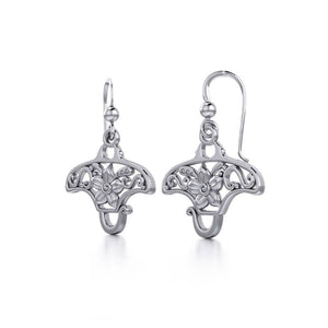 Go with the flow ~ Sterling Silver Manta Ray Filigree Hook Earrings Jewelry TER1705
