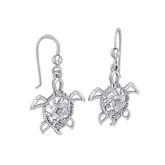 The fairies of the sea ~ Sterling Silver Sea Turtle Filigree Hook Earrings Jewelry TER1706