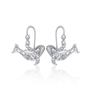 Tranquil guardians of the sea Sterling Silver Whale Filigree Hook Earrings Jewelry TER1711
