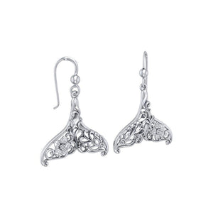 To live in solitude Sterling Silver Whale Tail Filigree Hook Earrings Jewelry TER1712 - Earrings