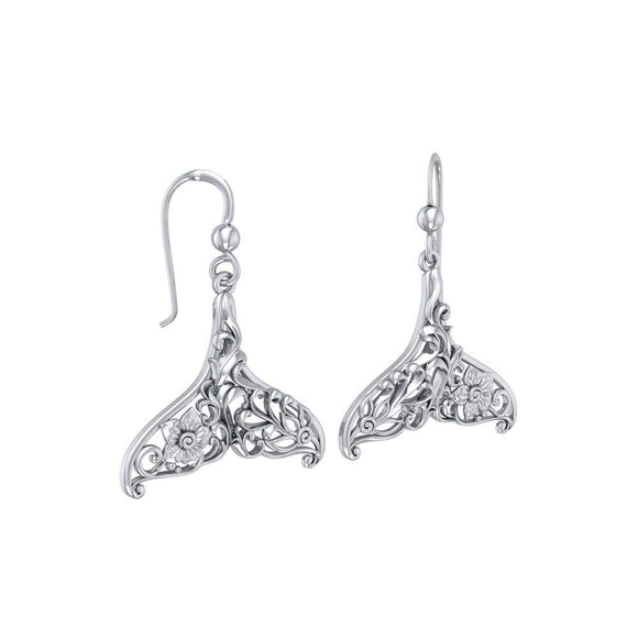 To live in solitude Sterling Silver Whale Tail Filigree Hook Earrings Jewelry TER1712
