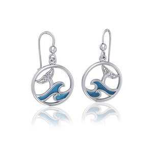 Sterling Silver Round Celtic Whale Tail Earrings with Enamel Wave TER1727
