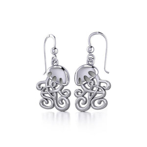 Box Jellyfish with Celtic Tail Silver Earrings TER1734