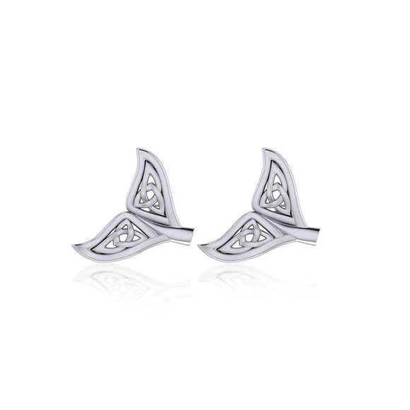Celtic Whale Tail Silver Post Earrings TER1749