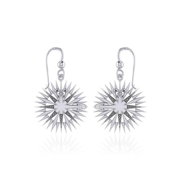 Wonderful Celtic Compass Rose Silver Earrings TER1765