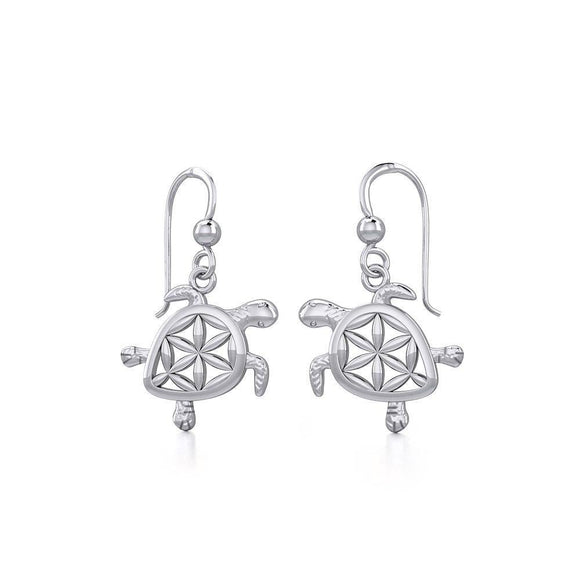 Swimming Turtle with Flower of Life Shell Silver and Gold Earrings TER1786