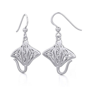 Grant the positive energy Silver Celtic Manta Ray Earrings TER1930
