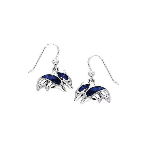 Twin Dolphins Sterling Silver Hook Earring TER228
