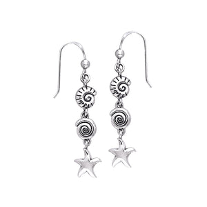Seashell And Starfish Sterling Silver Hook Earring TER491 - Earrings