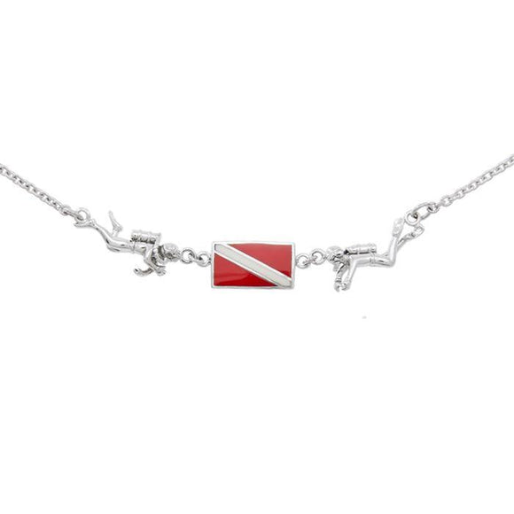 Diver Down Flag Sterling Silver Necklace TN192