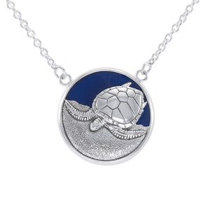 Sterling Silver Turtle with Navy blue Enamel Necklace by Ted Andrews TNC117 - Necklaces