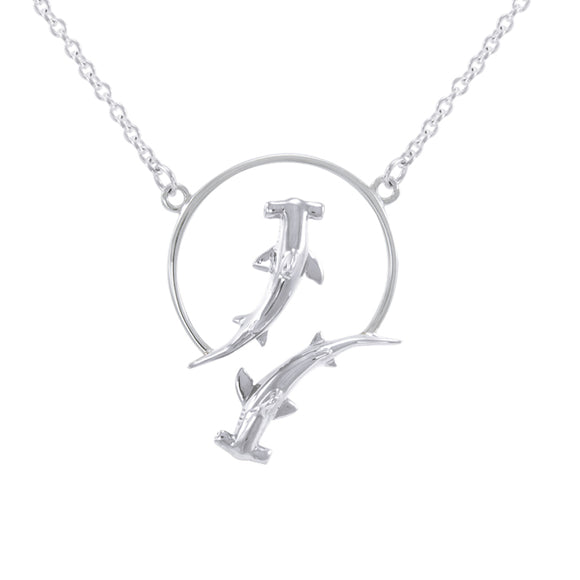 Quadruple Hammerhead Shark Sterling Silver Necklace TNC438P - Necklaces