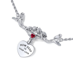 Freedivers Sterling Silver Gemstone Necklace with Dangling Heart TNC440