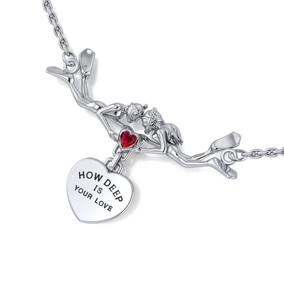 Freedivers Sterling Silver Gemstone Necklace with Dangling Heart TNC440 - Necklaces