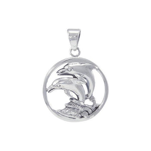Dolphin In Circle Sterling Silver Pendant TP1018 - Pendants