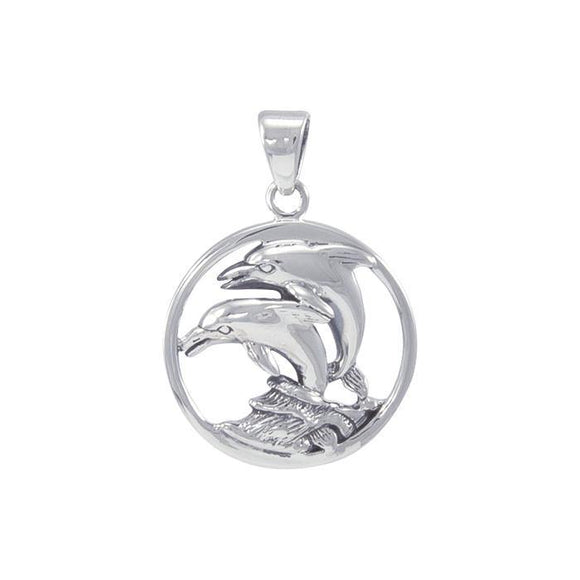 Dolphin In Circle Sterling Silver Pendant TP1018