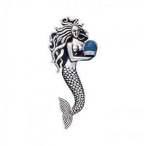 Mermaid with Gem Sterling Silver Pendant TP1025 - Pendants