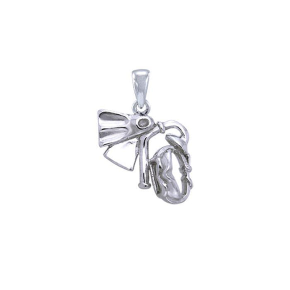 DIVE Mask and Fin Sterling Silver Pendant TP1260
