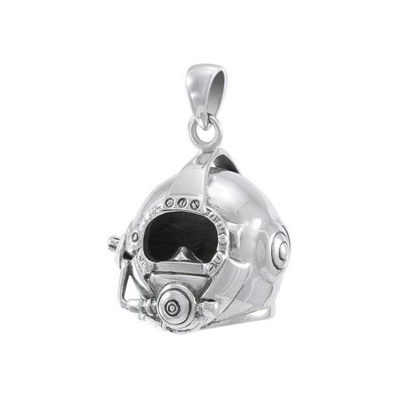 3 Dimensional Diving Helmet Sterling Silver Pendant TP1510
