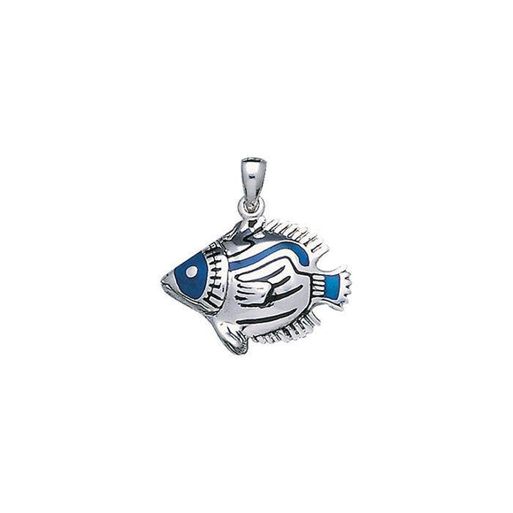 Raccon Butterfly Fish Sterling Silver Pendant TP1589