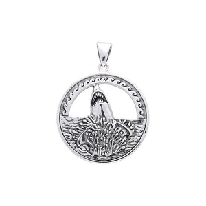 Great White Shark Sterling Silver Pendant TP2736