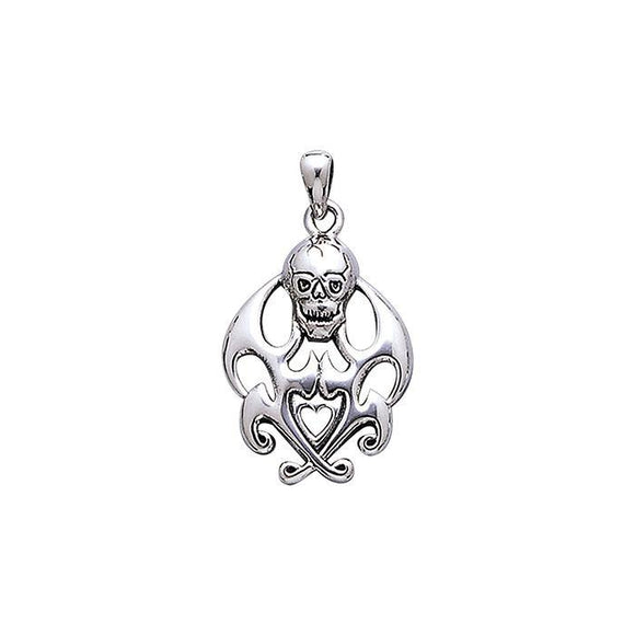 Drake's Skull with Flames Sterling Silver Pendant TP3053